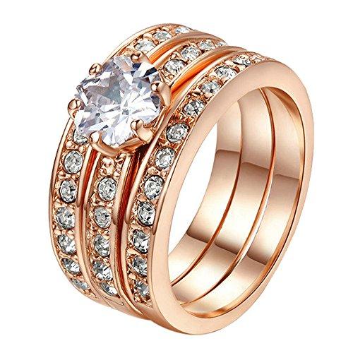 Yoursfs Bague Or plaqué 3 en 1 50mm Solitaire en Diamant Bijoux Femme Homme comme Accessoire ou Cadeau Anniversaire