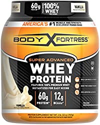 Body Fortress Super Advanced Whey Protein Powder, Vanilla Flavored, Gluten Free, 2 Lb