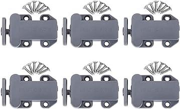 Nicoone 6 Sets Nylon Kast Lade Rebound Self Locking Deurklinken Met Schroef Meubels Hardware Accessoires (Grijs)