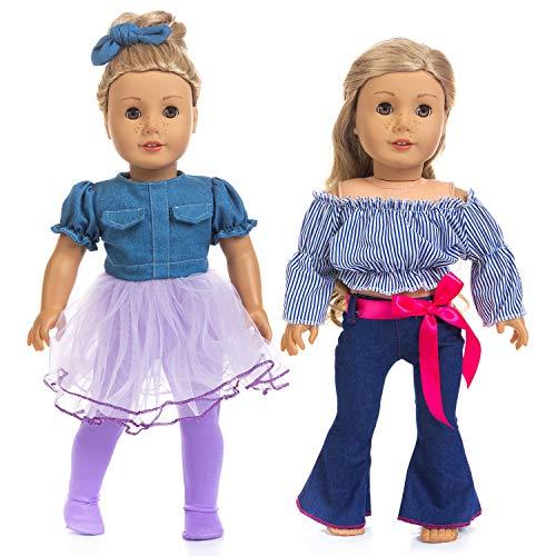 ZITA ELEMENT 2 Sets 18 Zoll Mode Moderne Puppenkleidung Sommer Freizeitkleidung Outfits für Amerikanische 18 Zoll Mädchen Puppe - Jean Rock, Enge, Off Schulter Shirt, Hose mit Glockenboden