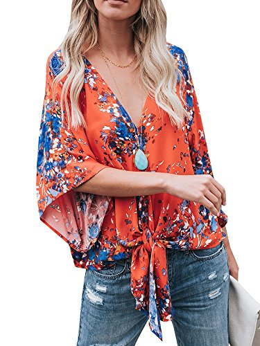 Womens Tie Front Loose Short Sleeve V Neck Floral Blouses Chiffon Tops Summer Shirts
