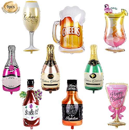 Aluminiumfolie Ballons, Weinflasche Ballons, Weinflasche Luftballons - 9 Stück Folienballon Champagner Sekt Flasche und Gläser Bierkrug Helium Inflatable Ballons für Hochzeit Party Tanzparty Deko