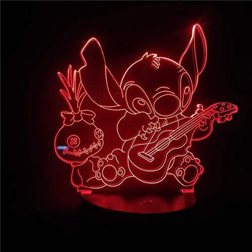 Stitch Playing Guitar Cartoon 3D Lámpara de luz nocturna para niños Lámpara de mesa Led Visual para colores de dormitorio Cambio para regalo de Navidad