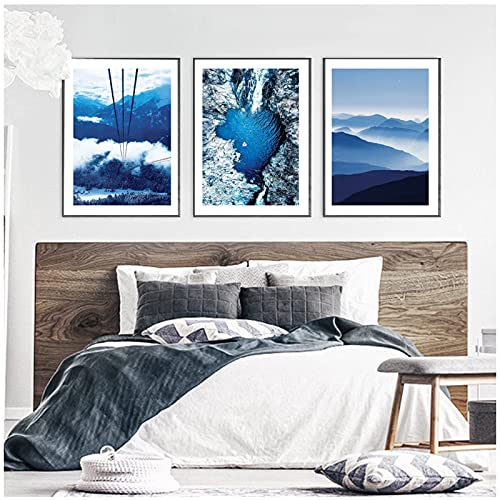 djnukd Blue Sea Love Heart and Sky Ride Landscape Canvas Painting Mountains Beach Art Poster Living Room Decor Wall Pictures 40X60Cmx3 No Frame
