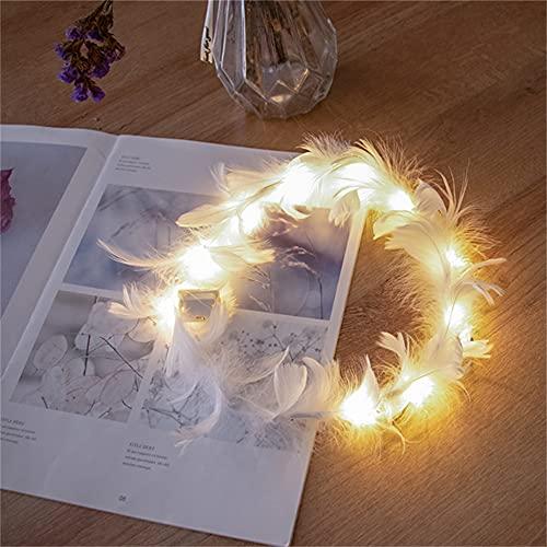 Wandskllss Guirlande de plumes lumineuses à LED pour décoration de mariage, de Noël, d'ange, de fête, de festival, de fête