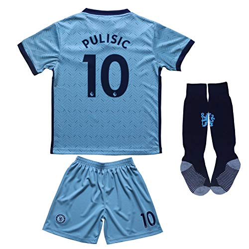 BIRD BOX 2020/2021 Chelsea Away #10 Christian PULISIC Football Soccer Kids Jersey Shorts Socks Set Youth Sizes (Blue, 26/8-9 Years)