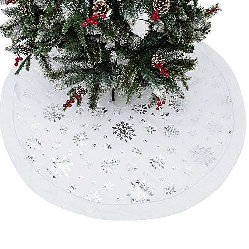 wlflash Christmas Tree Skirt 48 inches Snowy Pattern Xmas Tree Skirt for Christmas Tree Decorations Indoor Outdoor(Burlap-White)