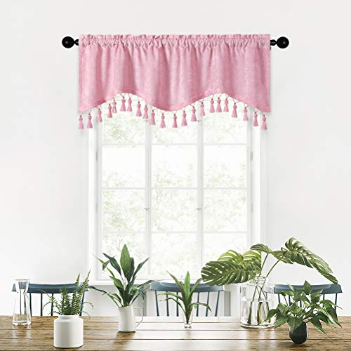 """Princess Pink Chenille Window Curtains Tier for Kitchen Scalloped Valance for Living Room,Rod Pocket, Pack of 1(Pink, 52"""" W x 18"""" L)"""