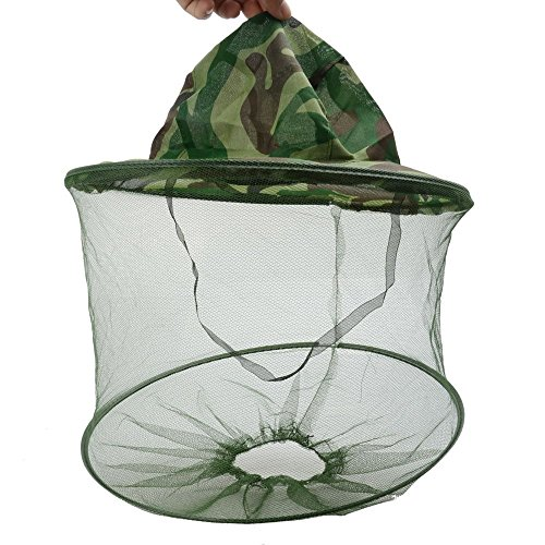 Outdoor Camo/Camouflage Large 13.7 inch Brim Beekeeper Beekeeping Anti-Mosquito Bees Bee Bug Insect Fly Mask Cap Hat with Head Net Mesh Face Protection Outdoor Fishing Equipment (2pcs)