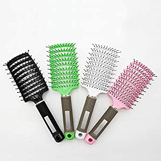 AMERTEER Curved Vented Hair Brush Big Size Massage Comb Anti-Static Hair Brush for Thick, Curly Hair (black)