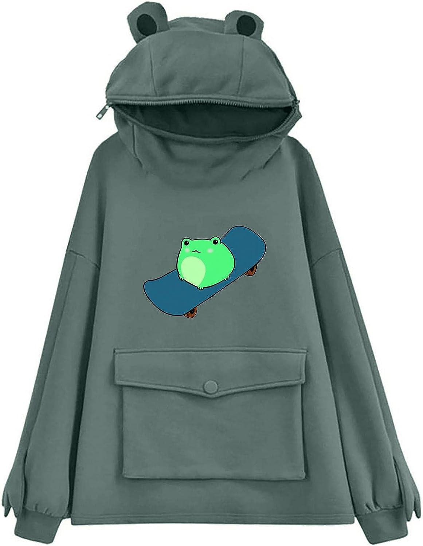 Gerichy Hoodies for Women 2021, Womens Casual Long Sleeve Frog Printed Hoodies Cute Hooded Sweatshirts Pullover Tops