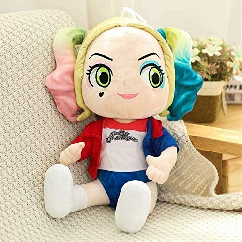 N-R Cartoon Anime Suicide Squad Harley Quinn Plush Toy Pure Cotton Soft Little Girl Doll Girl Cute Toy 45 cm Decorative Ornaments red Gift Home Decoration