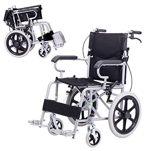 Lichtgewicht opvouwbare rolstoel met handremmen, opvouwbaar aluminium frame, compacte doorvoer reisstoel voor ouderen, gehandicapte en gehandicapte gebruikers Zwart