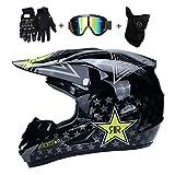 OUTLL Fachmann Volles Gesicht Motorrad Helm Set, mit Brille Handschuhe Maske, Erwachsene Off Road Motorrad Helm Bergab Quad Dirt Bike MX ATV Absturz Helm, DOT Zertifiziert