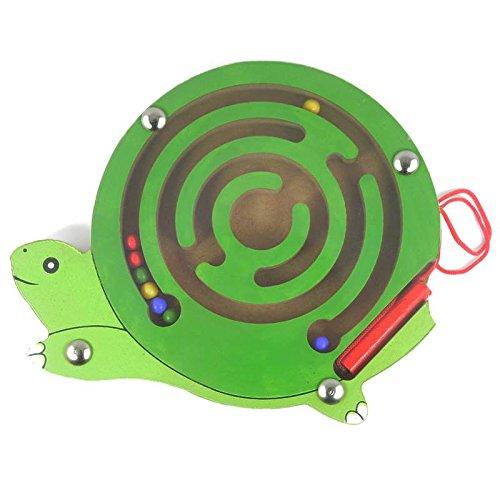 HappyToy Tier Mini Wooden Runde Magnetische Wand Nummer Maze Interaktive Labyrinth Magnet Perlen Labyrinth auf Brettspiel Stadt Verkehr Eduactional Handcraft Toys (Schildkröte)