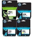 Cartuchos originales HP 953XL negro y HP 953cian, magenta, amarillo, juego de 4cartuchos originales para HP Officejet Pro 8210821887108715871887198720872587308740