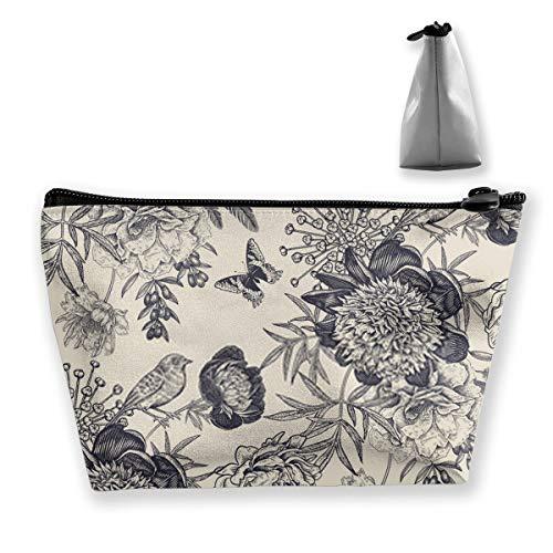 Trousse de toilette avec fleurs de jardin, pivoines, oiseaux et papillons