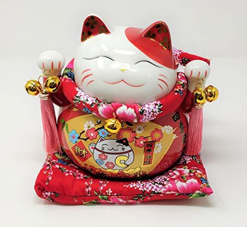 JRose Collections Tirelire Chat Chinois Porte-Bonheur avec Coussin Rouge 17 cm de Haut