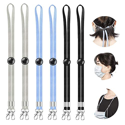 6 Stück Maskenband für Mundschutz, Einschließlich Schwarzer/Weißer/Blauer Maskenkette Lanyard, für Maskenkette Einstellbar Kinder/Damen/Männer (Grau/Schwarz/Blau)