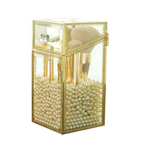 YunNasi - Support pour pinceaux de maquillage en verre avec des perles blanches - Pour coiffeuse et salle de bain, Verre, Large1