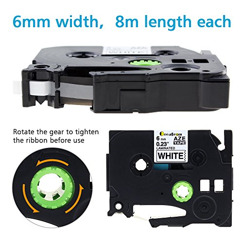 Greateam Compatible Label Tape Replacement for Brother P-Touch 6mm TZe Tapes TZe-111 TZe-211 TZe411 TZe511 TZe611 TZe711, 1/4 Inch P-Touch Label Maker Tape for PT-H110 PT-D210 D400 D600, 6PK