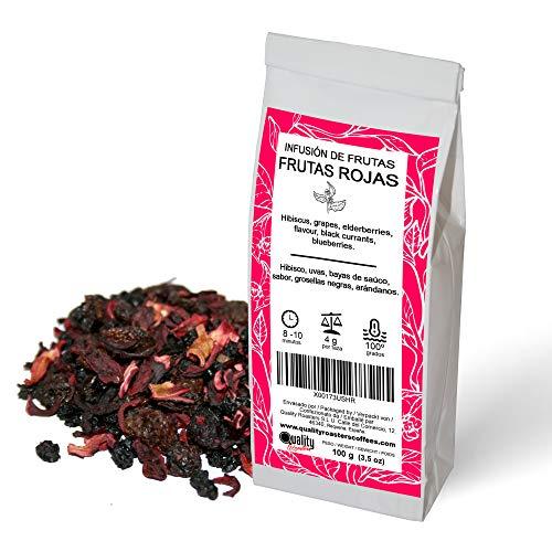 Quality Roasters Coffees Infusion de frutas. Frutas Rojas. Mezcla. Sabor de frambuesas, fresas, cerezas y toque de crema. 100 gramos.