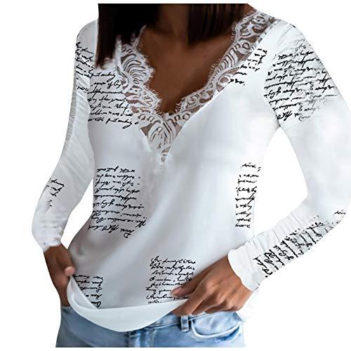 Drucken Pullover Einfarbig Mit V-Ausschnitt Bluse Spitze Langarmshirts Slim Fit Shirts Sexy Oberteile Damen Baumwolle Bluse Tshirt Tunika Tops