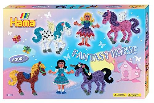 Hama Fantasy Horse, 3033, geschenkverpakking, ca. 6000 strijkkralen en twee stiftplaten.