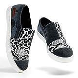 Women Slip-on Sneakers Leopard Snakeskin Stitching Fashion Canvas Sneaker Shoes No...