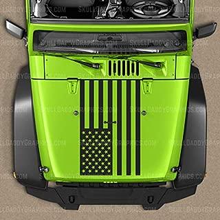 Skull Daddy Graphics USA Flag Hood Decal Sticker to fit Jeep Wrangler JL JK JKU 2007-2018 (Matte Black)
