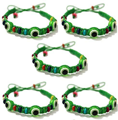 5 Bracelet ŒIL CHANCEUX charme de perle ethnique cordon VERT pour succès mode