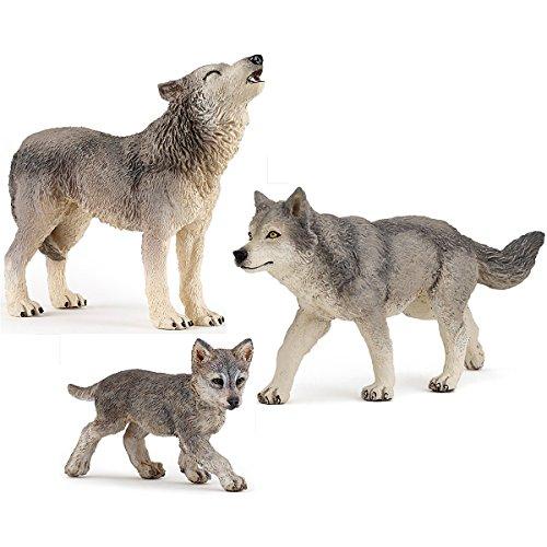 Papo Wolf-Familie - 50162 Wolf-Junges, 50171 heulender Wolf & 53012 graue Wölfin - Figuren-Set