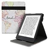 kwmobile Funda Compatible con Kobo Aura H2O Edition 2 - Carcasa para e-Book de Cuero sintético - Mapa Mundial Negro/Multicolor