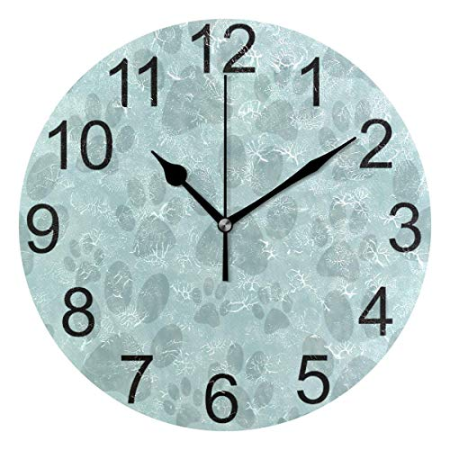 FETEAM Blue Dog Paw Pattern Wall Clock Battery Operated Cute Pug Footprint Clock Round Quartz Clocks Bedroom School Office Kitchen