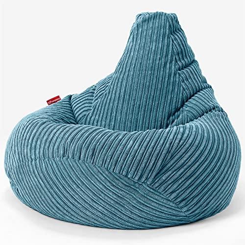 Lounge Pug®, Gaming Sitzsack Sessel mit Hocker, Cord Türkis
