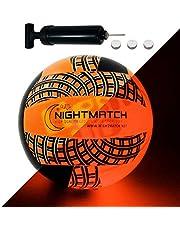 Night Match volleybalbal, verlicht, ballonpomp en reservebatterijen, inclusief – verlicht van binnen door een heldere led bij het slaan, nachtlampje