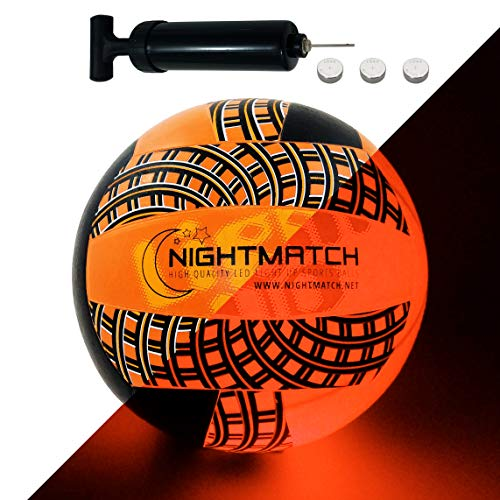 NIGHTMATCH Light Up LED Volleyball - Mesh Print Edition - INCL. Ball Pump and Spare Batteries - Official Size & Weight (Gemustert)