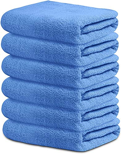 SAT AMERICANA Bath Towel Blue Hotel Spa Gym Pool Yoga Lightweight Soft Absorbent Quick Drying Multipurpose Combed Cotton Bath Towel Set Daily Use Bath Towel Blue 22quot x 44quot Pack of 6