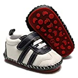 SOFMUO Baby Girls Boys Pu Leather Sneakers Anti-Slip Rubber Sole Cartoon Moccasins Handmade Newborn Slippers Hard Bottom Toddler First Walkers Infant Crib Shoes (Line White,12-18 Months)