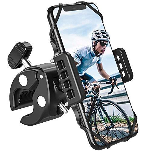 PASONOMI Universal Handyhalterung Fahrrad Motorrad mit 360° Kugelgelenk & Sicherheitsgummi für iPhone, Samsung, Huawei, Xiaomi, LG andere Smartphone