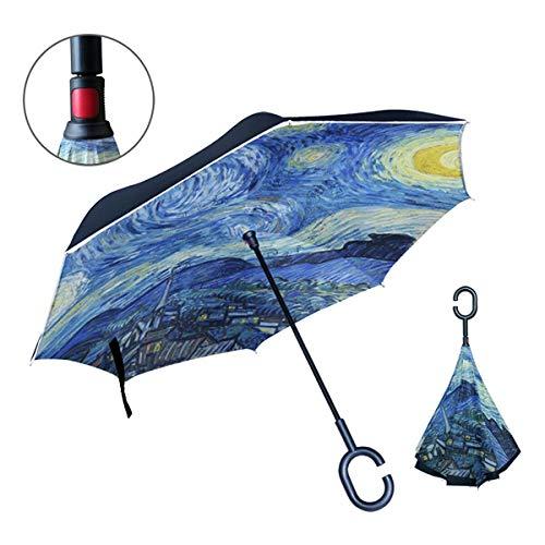 OREZI Van Gogh Starry Night Art Umbrella,Double Layer Travel Inverted Umbrella with C -Shape