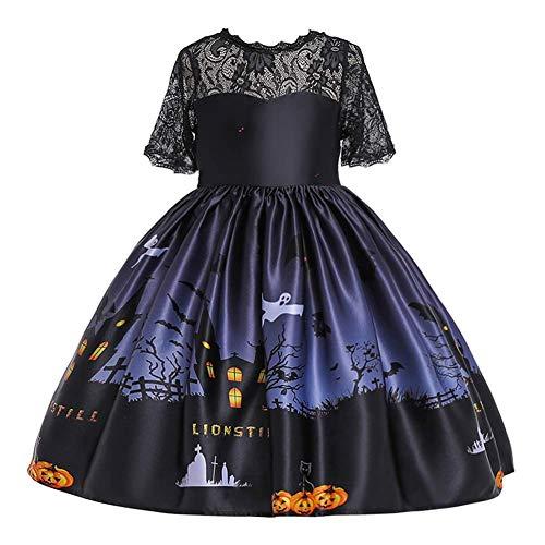 OBEEII Ragazze Bambina Vestito da Halloween Principessa Carnevale Abito per Festa Cosplay Abbigliamento Costume Regalo Nero 5-6 Anni