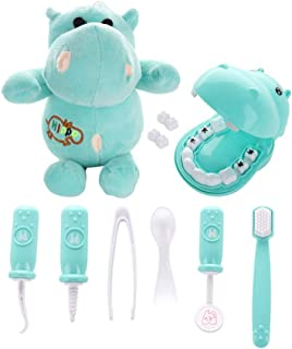 RTWAY Play Doctor Kit for Kids, 9 Pieces Pretend Play Dentist Medical Set with Hippo Plush Toy Doctor Roleplay Toddlers Birthday Xmas Gifts s Green 45KYL17L17Y360