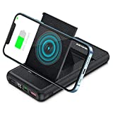 YANSAKER Wireless Power Bank 10000mAh, 18W PD USB C Portable Charger with 7.5W/10W/15W Wireless Fast Charging & Folding Stand, Quick Charge LED Display External Battery Pack for iPhone, Samsung, iPad