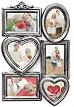 Adeco PF0615-2 6 Openings Antique Silver Wall Hanging Wedding Collage Family Picture Frame-Made to Display Four 4x6, 5.5x5...
