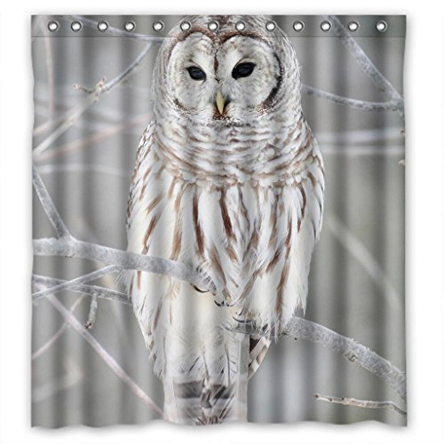 Cute White Owl Perched in a Tree Design Shower Curtain