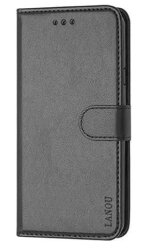 LANOU Hülle für Samsung Galaxy G530 / Galaxy J2 Premium Leder Handyhülle mit Kartenfächern & Standfunktion Flip Cover für Samsung Galaxy G530 / Galaxy J2, Galaxy Grand Prime, schwarz