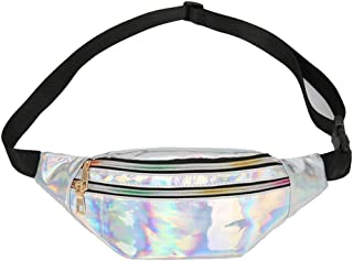 Holographic Fanny Pack for Women and Men, Lightweight Multi-Function Reflective Laser Waist Bag, Fashion PU Messenger Bag for Outdoors Sports