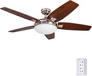 Honeywell Carmel 48-Inch Ceiling Fan with Integrated Light Kit and Remote Control, Five Reversible California Redwood/Mend...