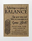 8x10 UNFRAMED Marriage is The Game Of Balance/Burlap Print Sign/Rustic Country Shabby Chic Vintage Wedding & Party Decor Sign Love Game Kitchen Sign Jenga
